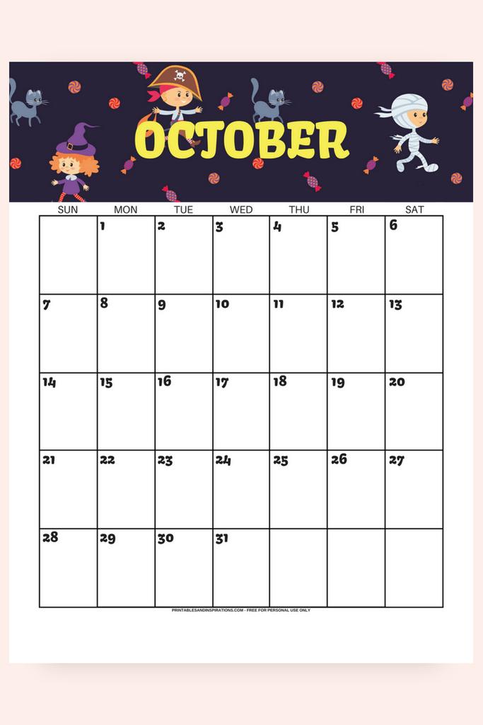 October Calendar 2018 FREE Printable | October calendar ...