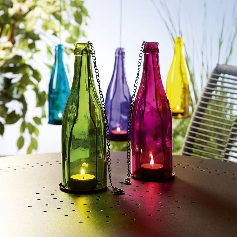 New coloured glass bottle tealight holder hanging garden lantern ...
