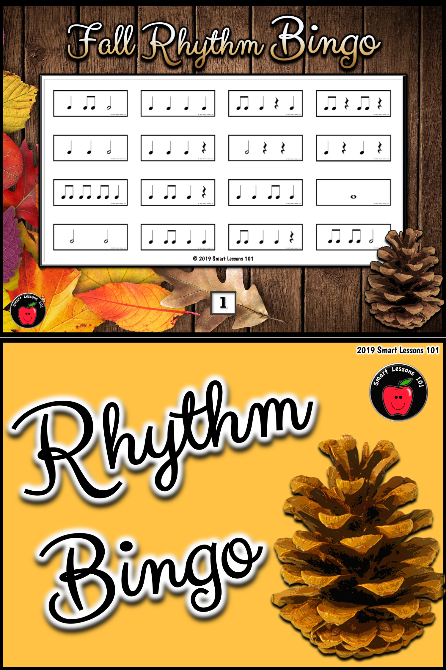 Fall Music Rhythm Bingo Fall Music Activity Fall Music