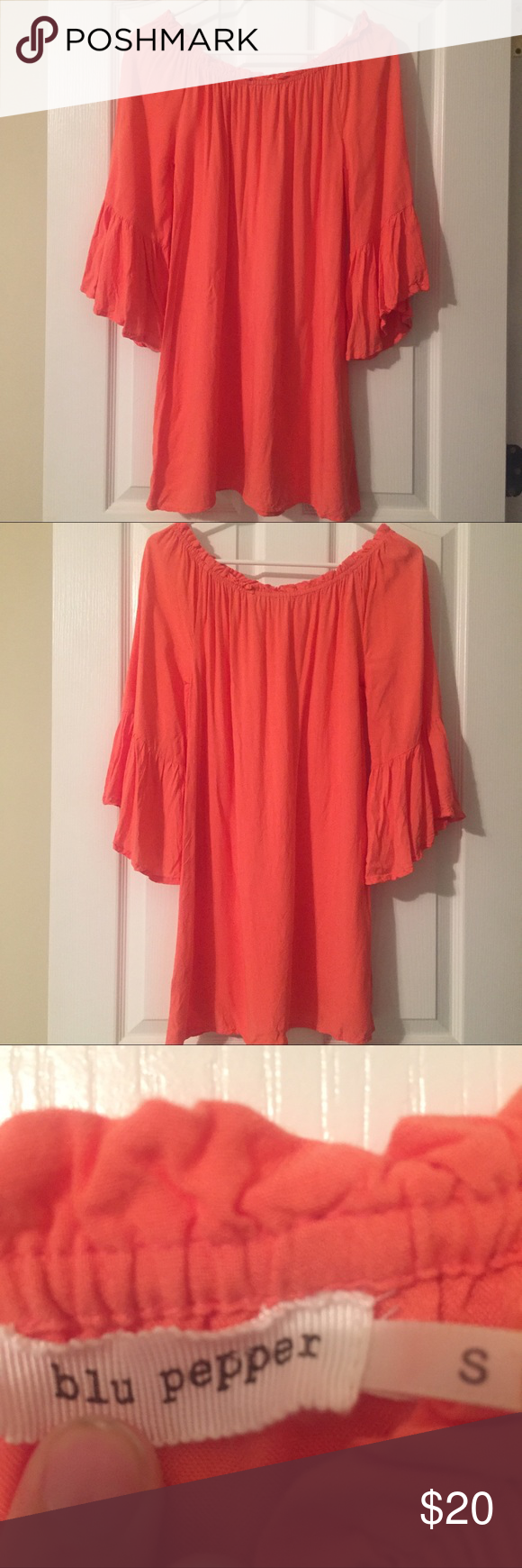 Off the shoulder summer dress Blu Pepper, gently used, size small, off the shoulder dress! Beautiful color, perfect for any occasion! Blu Pepper Dresses Strapless