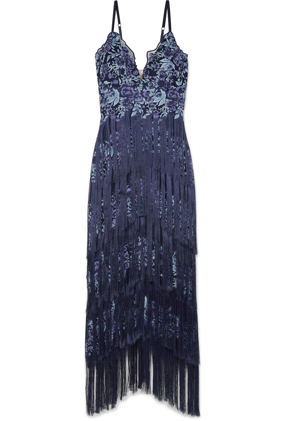 Marchesa notte green lace dress  Marchesa Notte  Fringed embroidered tulle gown  NETAPORTERCOM