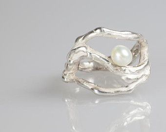 Unique Silver pearl ring , ocean wave inspired, June birthstone