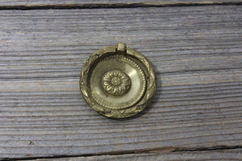 Gorgeous brass Cabinet knob antique hardware Vintage drawer pull 1 inch diameter