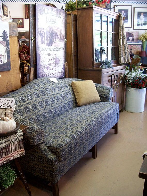 New Camel Back Sofa In Bue Concord Fabricfrom Country At Heart
