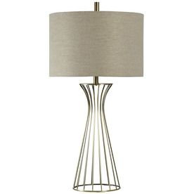 Stylecraft Home Collection 37 In Antique Brass Standard 3 Way Switch Table Lamp With Fabric Shade L37166 Brass Table Lamps Table Lamp Metal Table Lamps