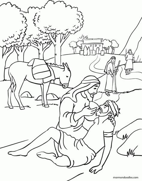 Mormon doodles the good samaritan coloring page