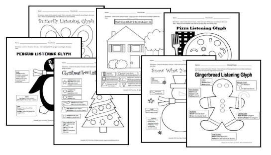 Awesome, inexpensive listening worksheets: glyphs for the