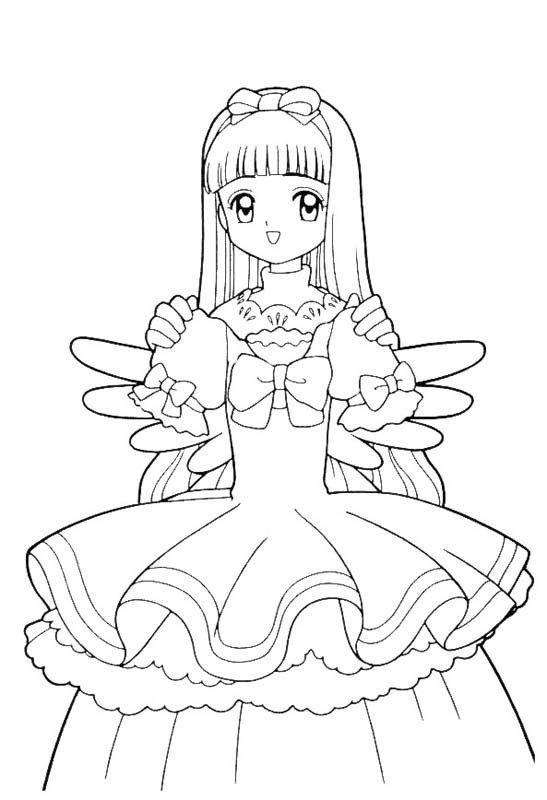 Card Captors Sakura Carries A Dress Coloring Pages For Kids Dxu Printable Card Captors Sakura Sailor Moon Coloring Pages Cute Coloring Pages Coloring Pages