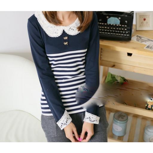 بلوزة قطن شتوي بأكمام طويلة بلوزة بطوق دانتيل مخططة باللون الكحلي أو الأسود والسكري البلوزة كحلي اللون Long Sleeve Blouse Cotton Blouses Fashion