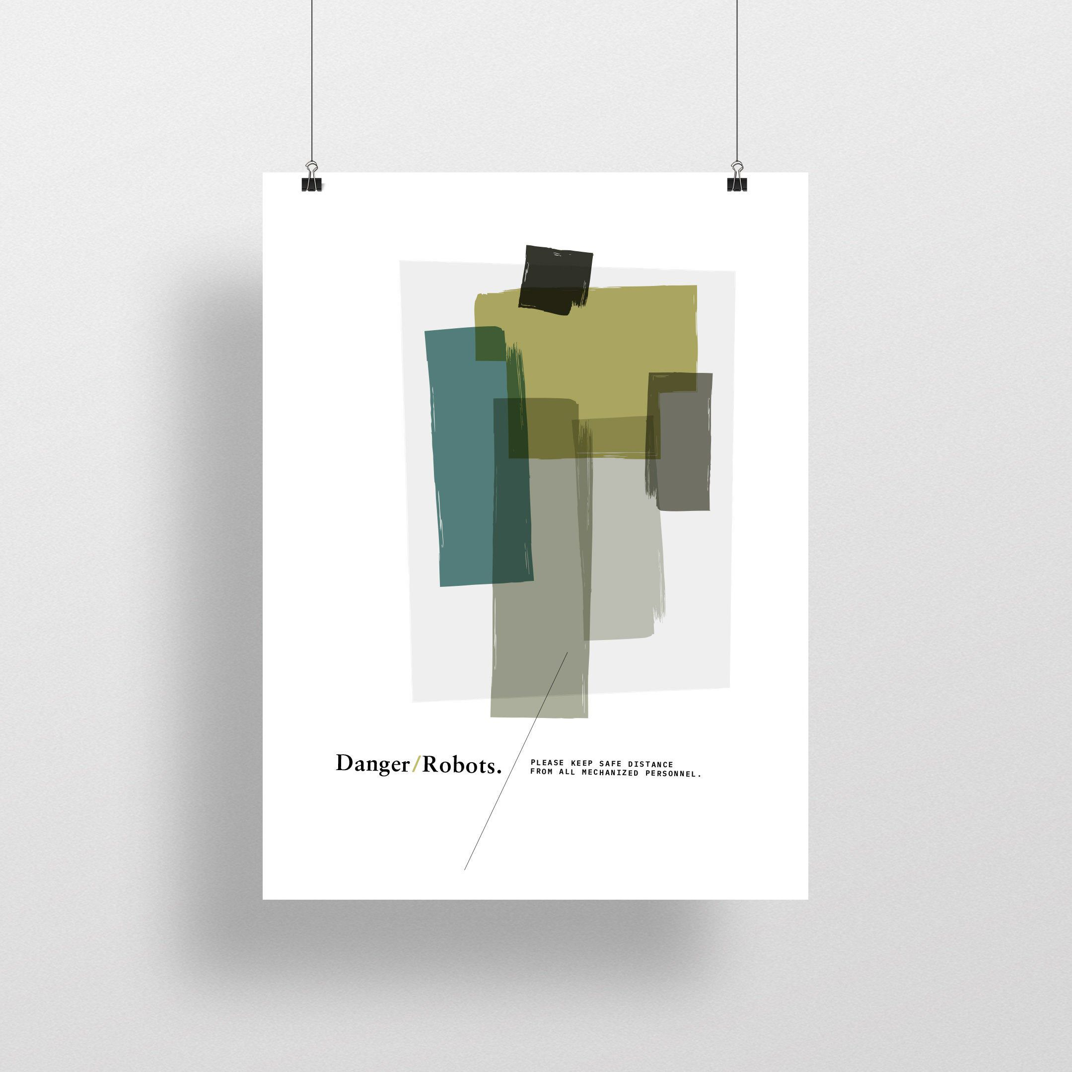 Danger Robots Midcentury Modern Funny Quote Natural Modern Etsy Modern Abstract Print Minimalist Poster Graphic Design Posters