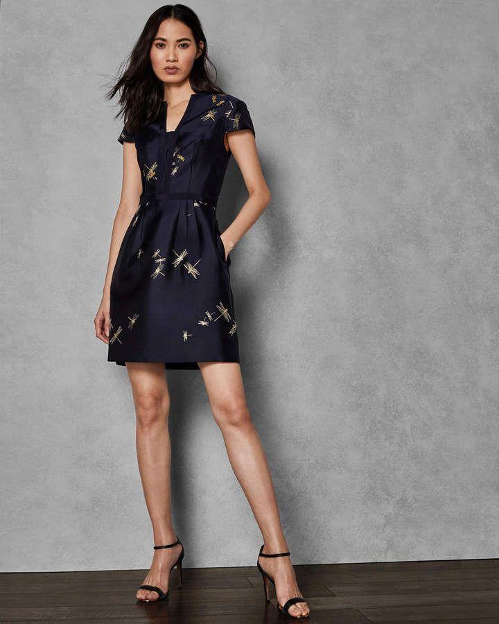 c8c2c0a2614f1 Ted Baker HARTTY Sugarplum jacquard dress