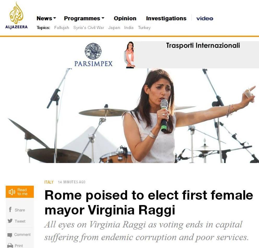 Sulla pagina Twitter dell'agenzia France Press i risultati dei primi exit poll vengono commentati così: «Roma elegge la populista Raggi come primo sindaco donna»
