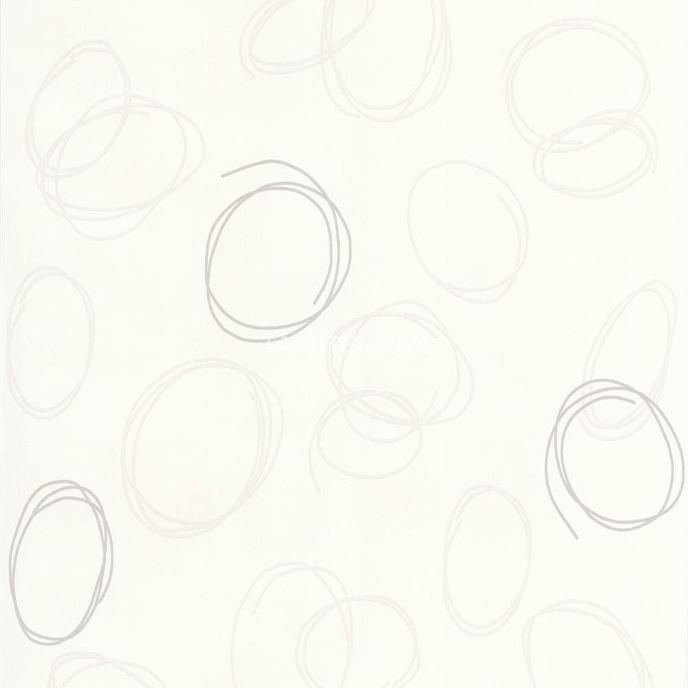 """Das weiß/beige Kreis-Muster der 2308-12 Vliestapete aus der Kollektion """"SPOT"""" von AS Creation passt sehr gut mit den Unis zusammen!"""