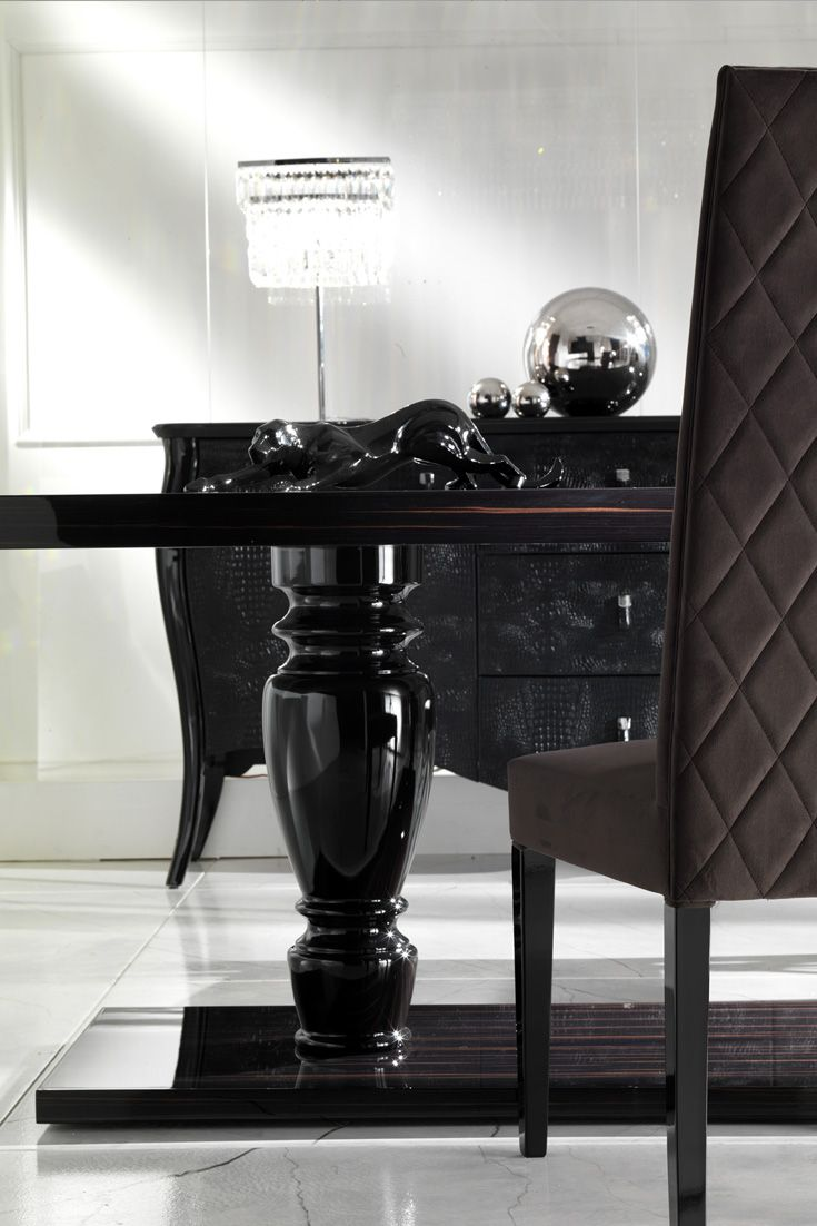 Large Ebony Dining Table Set Dining Table Luxury Dining Chair