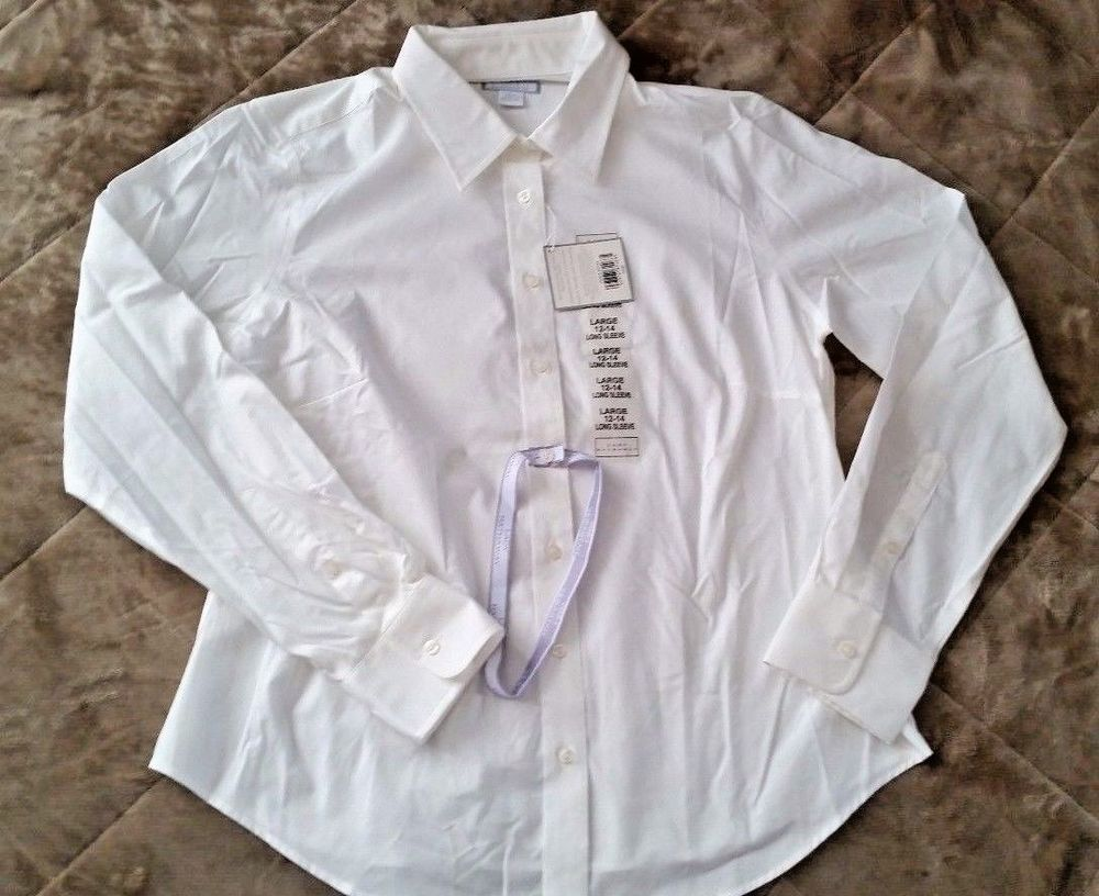 Nwt Lady Hathaway Womens No Iron Dress Shirt White Long Sleeve Size