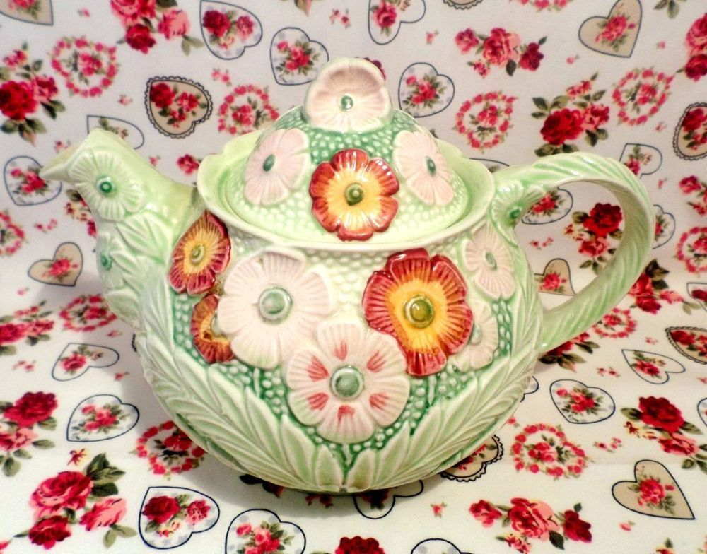 Melba Ware Vintage Embossed Teapot Art Deco Floral Shabby Chic