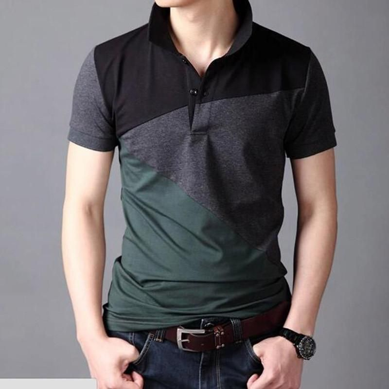 NEW Men/'s Polo Casual V-neck Collar T-shirt Short Sleeve Tee Shirt Slim Fit Tops