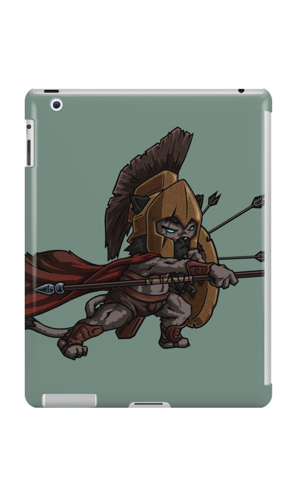 Warrior Cat iPad Case by namibear. This is a cartoon drawing of a cat-like creature wearing a medieval armor and fighting. There are arrows on his shields and he is waving a spear towards the enemy. He is fierce!