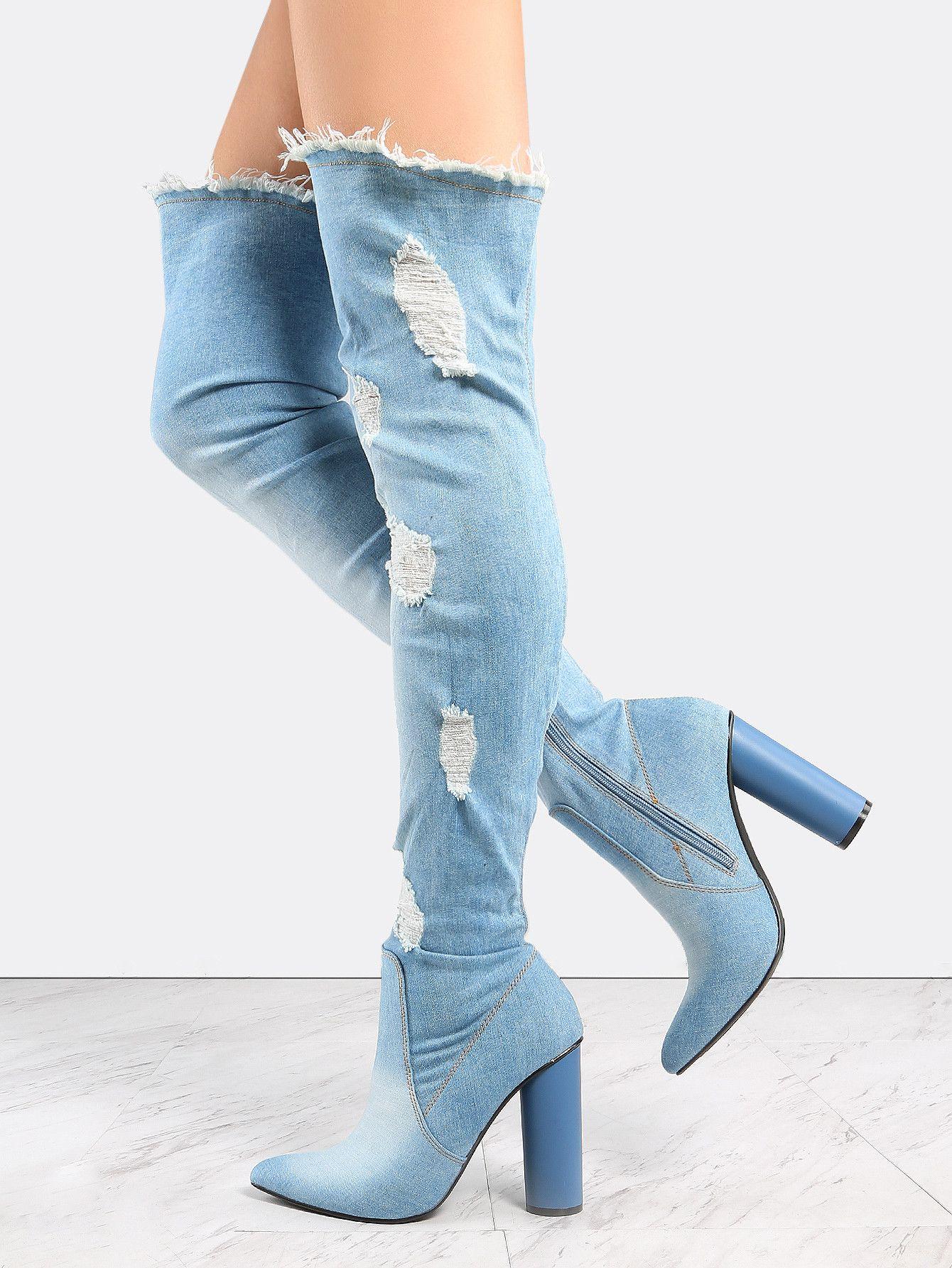 2017 Light Blue Denim Boots Block Heel
