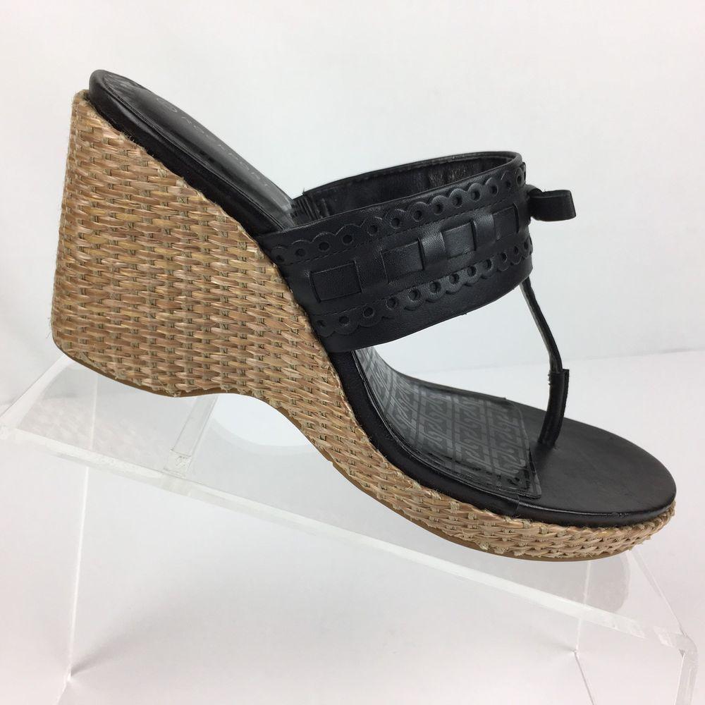Rockport Adiprene Womens Wedge Slides Size 8 Black Leather Woven Straw