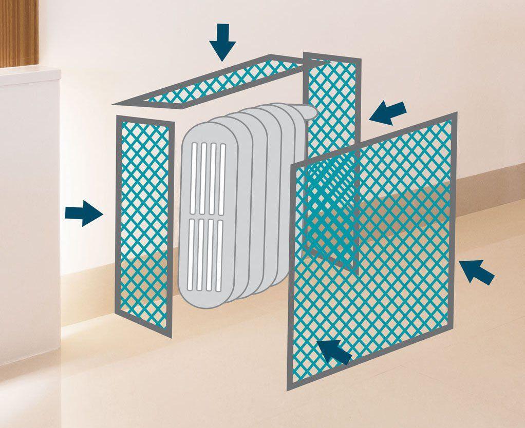 Aplicaci N De La Rejilla Para Cubrir Un Radiador  # Muebles Cubreradiadores Leroy Merlin