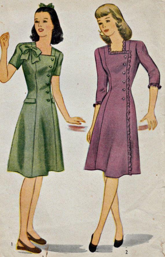 simplicit des ann es 1940 1164 vintage dress pattern c t fermeture robe de princesse la. Black Bedroom Furniture Sets. Home Design Ideas