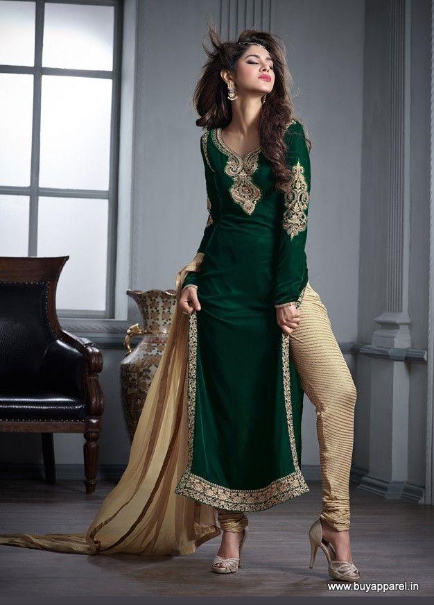 Green Velvet Designer Suit | Designer Suits | Indian ...