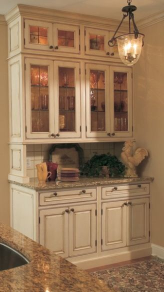 Adding Top Cabinets To Gain More Height At Existing Hutch Glass Knobs From Restoration Hardware And Mercury Backsplash