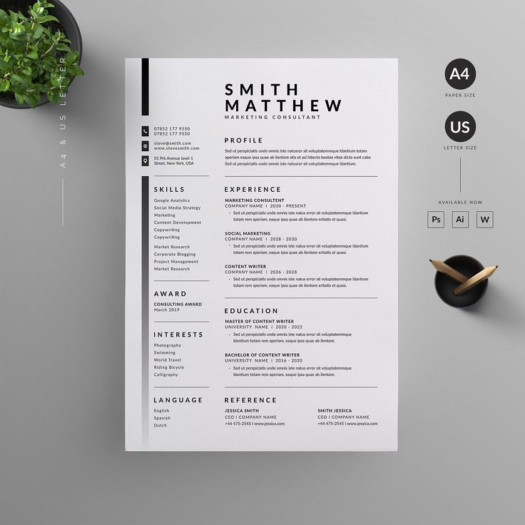 Resume / CV # Inch # Paper # Size # Bleed
