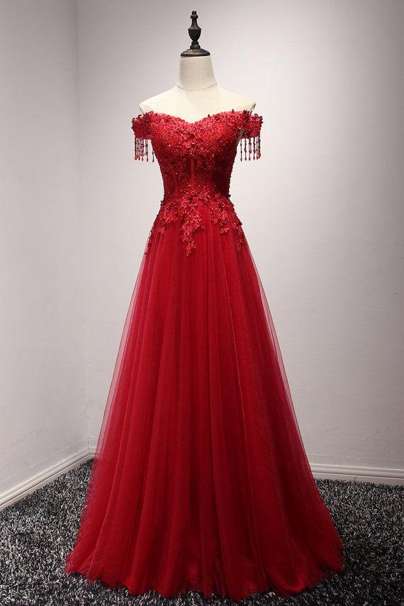 burgundy wine red off shoulder long prom dress von. Black Bedroom Furniture Sets. Home Design Ideas