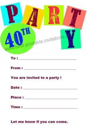 40th Birthday Cards Free Printable : birthday, cards, printable, Printable, Birthday, Invitation, Invitations,, Party, Invitations