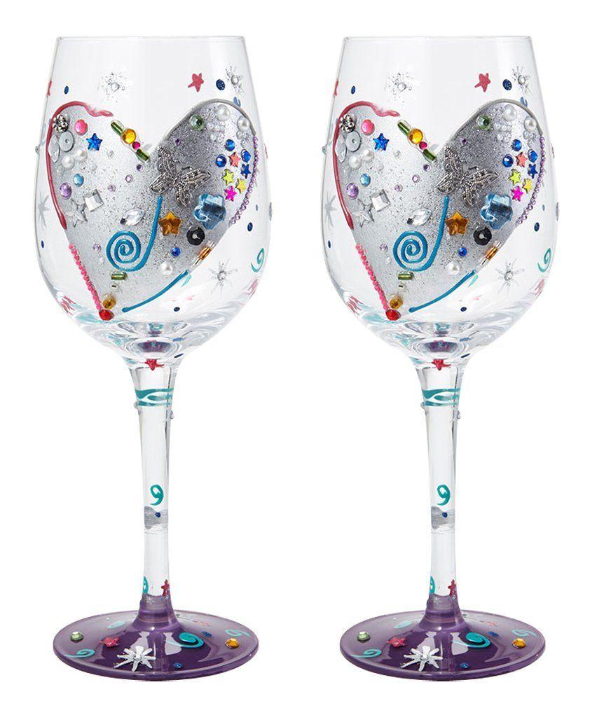 Santa Barbara Design Studio Lolita Love My Wine Glass Silver Lining Set of 2