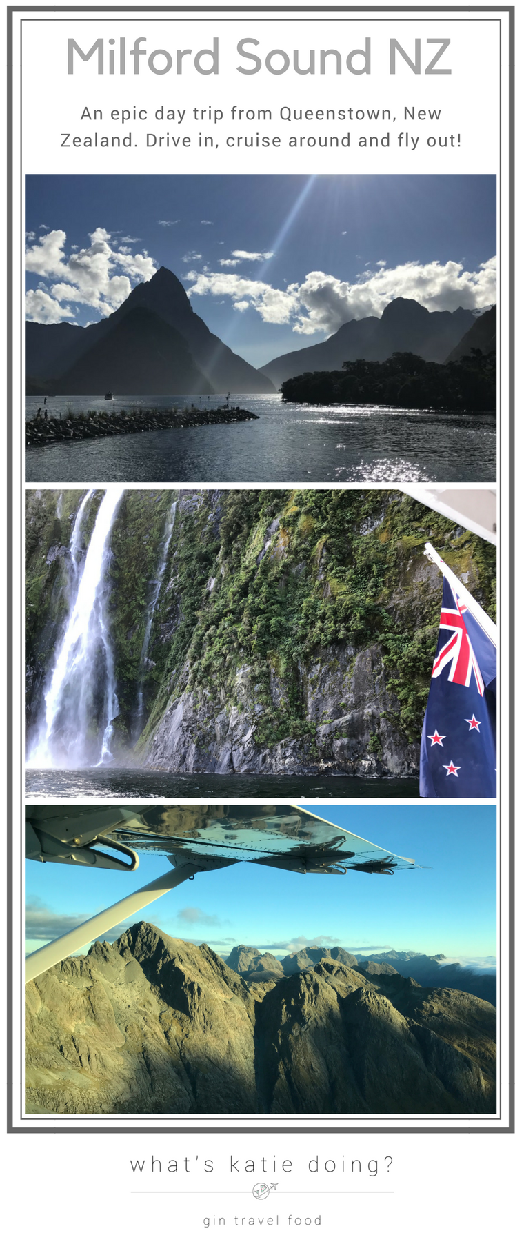 You can day trip from Queentown, New Zealand to Milford Sound easily! Read my experience, driving in on the BBQ bus, cruising the Sound and flying back out! #milfordsound #newzealand #daytrip #milfordsoundcruise #bbqbusNZ