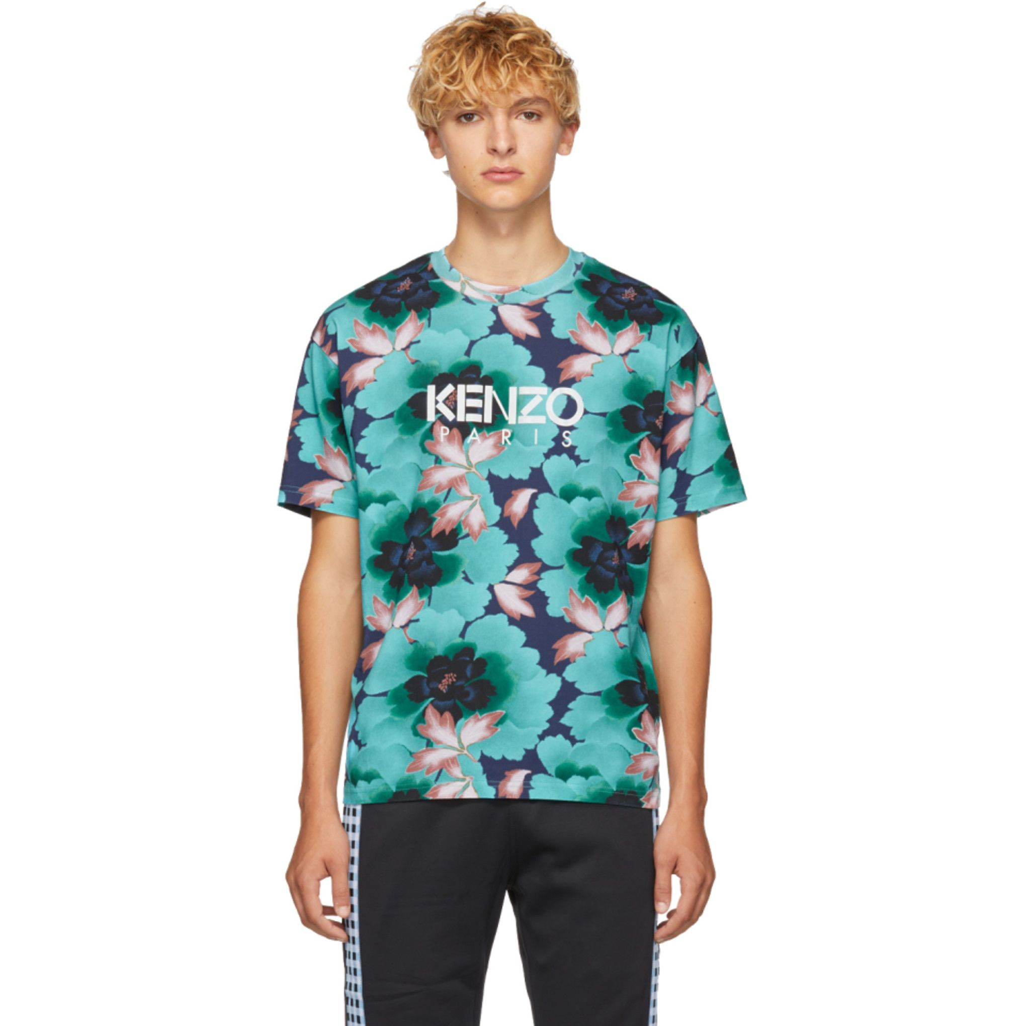 a8225ce7 Kenzo - Blue 'Indonesian Flower' Straight T-Shirt | Fashion | T ...