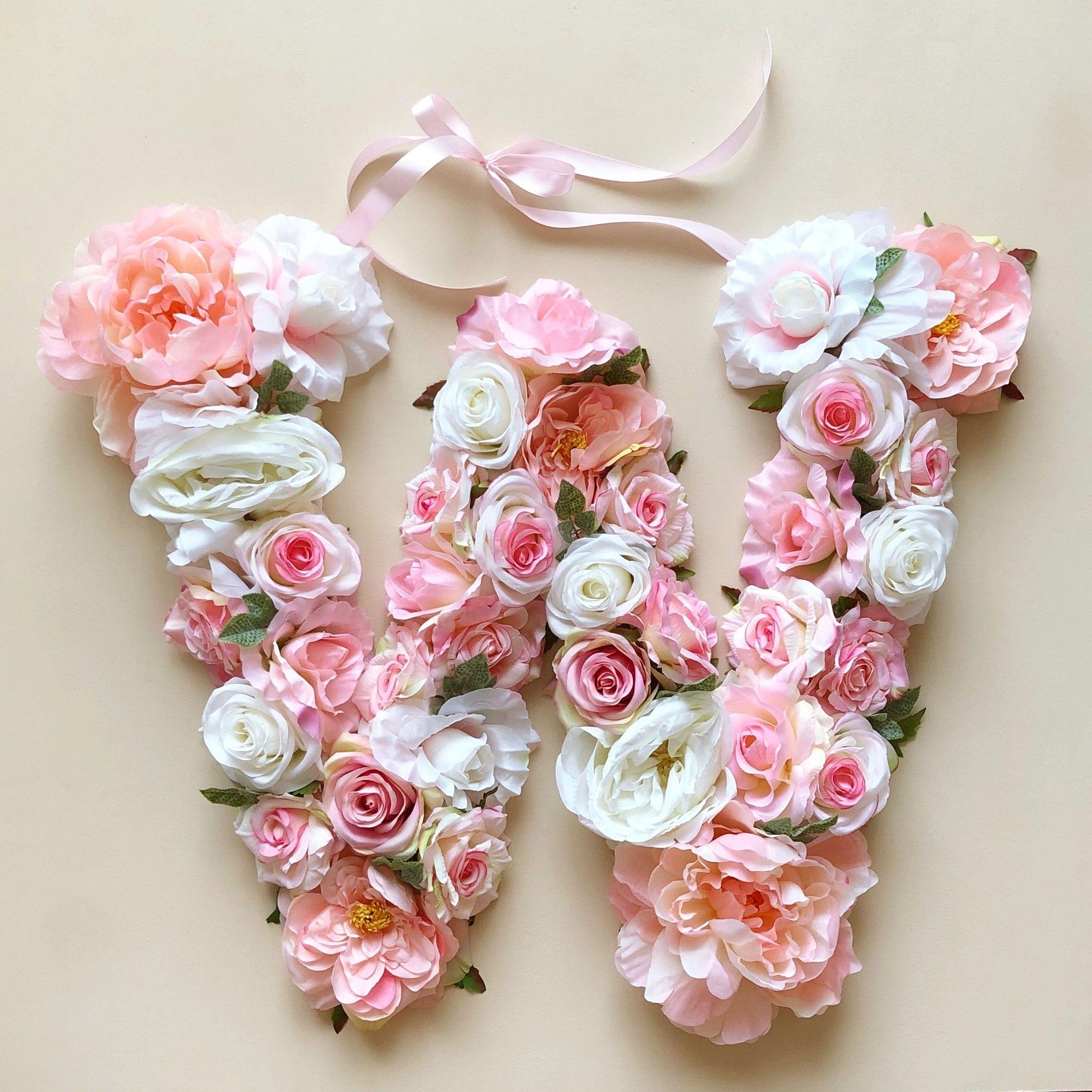 Flower Letter Floral Letter Baby Girl Room Initial Flower Letters Floral Letters Stylish Alphabets