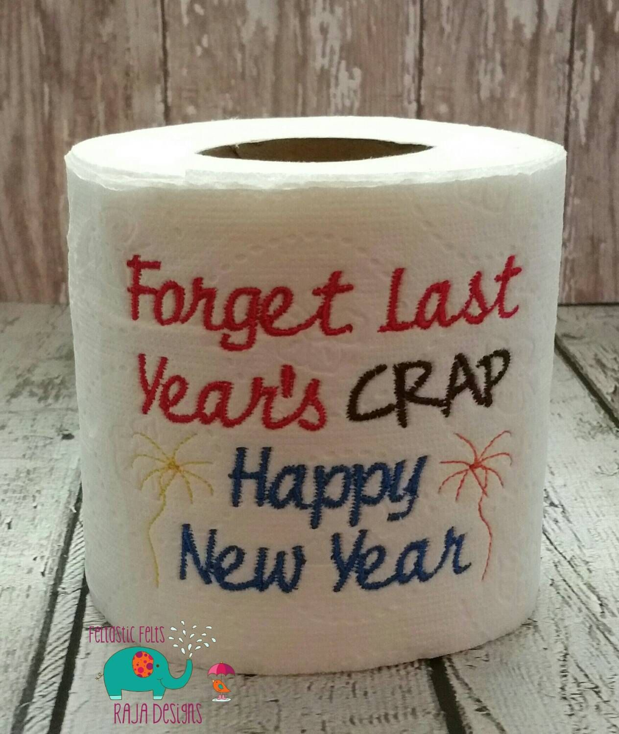 New Year embroidered toilet paper, gag gift, white