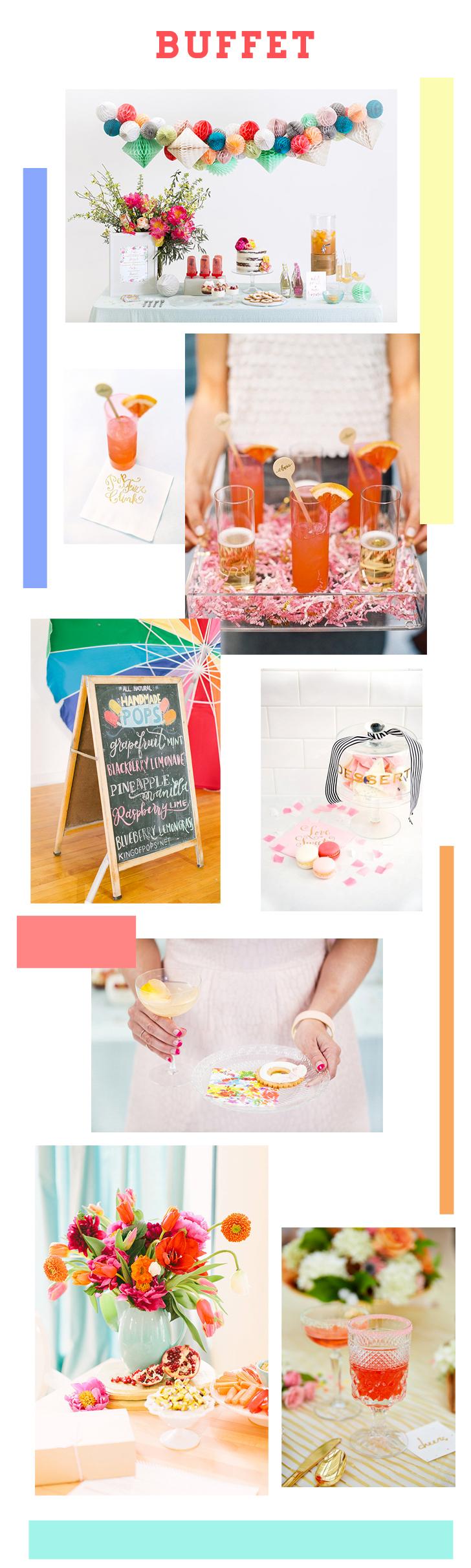 Décoration coloré pour des buffets ou des tables de fête. Mademoiselle Claudine