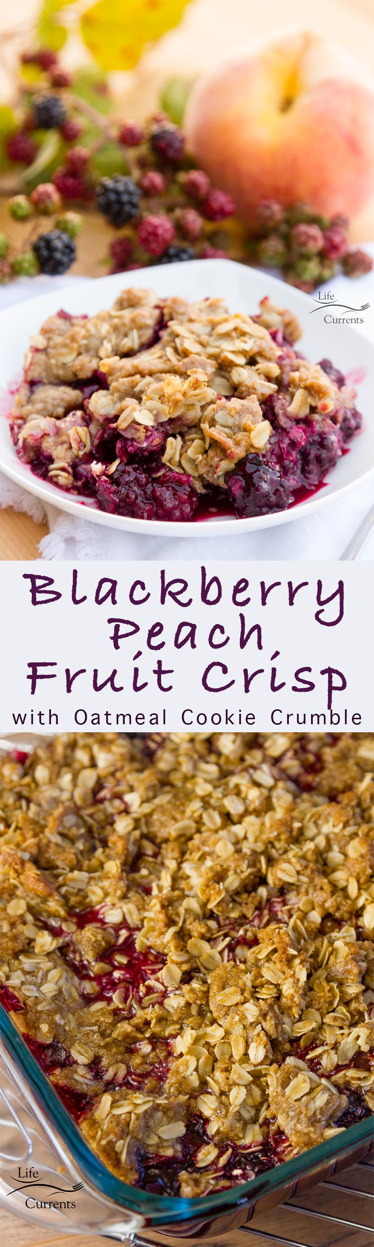 Blackberry Peach Fruit Crisp with Oatmeal Cookie Crumble - a dessert or breakfast that's loaded with fruit & topped with delicious brown sugar streusel
