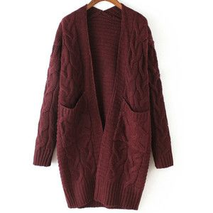 SheIn(sheinside) Red Long Sleeve Cable Knit Pockets Cardigan