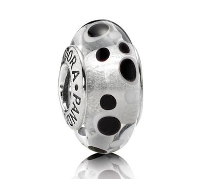 Pandora Black and White Bubbles Murano Glass Charm 790692