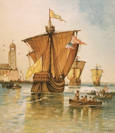 Christopher Columbus S Fleet Departing From Spain In 1492 With Ships The Nina The Pinta And The Santa Maria T Christopher Columbus Columbus Columbus Voyage