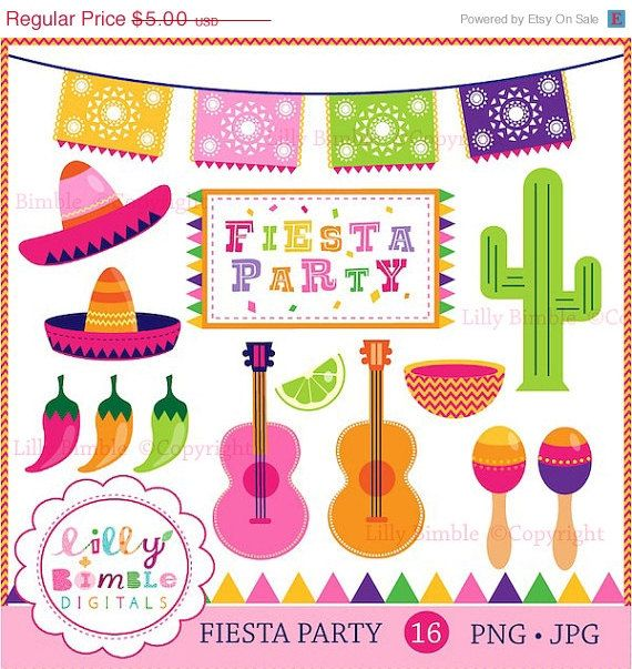 50 Off Fiesta Party Clipart For Invitations Cards And Party Decor Cactus Peppers Picado Maracas Sombreros Fiesta Party Mexican Party Theme Party Clipart