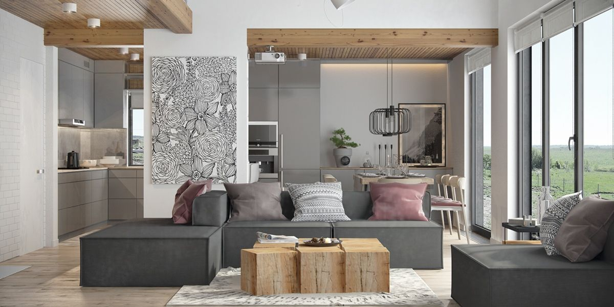 Du gris, du bois et des notes de rose dans un intérieur | Salons and ...