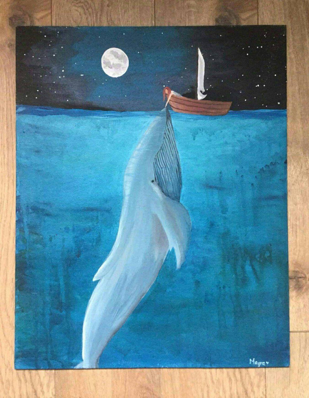 Acrylic Whale Painting : acrylic, whale, painting, Whale, Acrylic, Canvas, Painting, Beautiful, Painting,