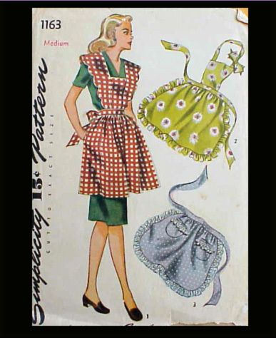 Vintage Full or Half Apron Pattern Simplicity 1163 Sewing Retro