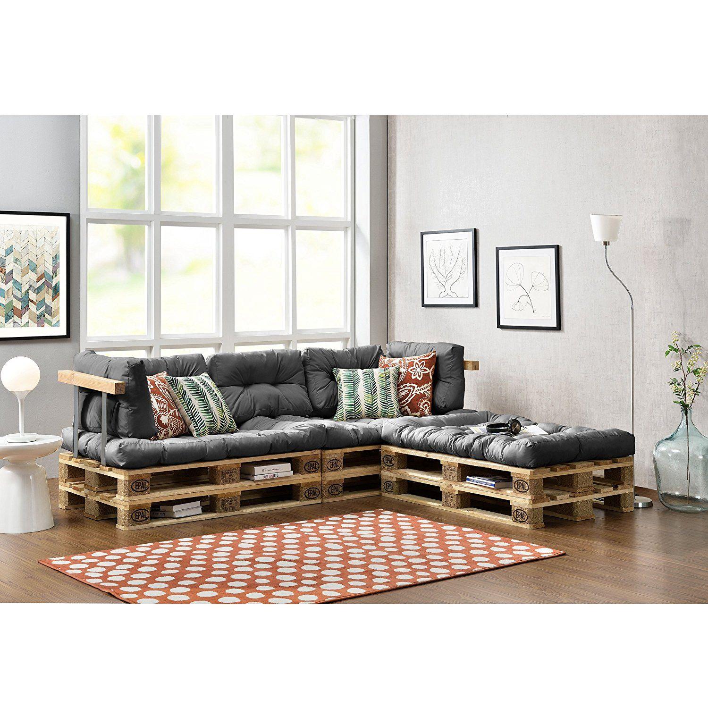 Euro Paletten Sofa   DIY Möbel   Indoor Sofa Mit Paletten Kissen / Ideal  Für Wohnzimmer   Wintergarten (3 X Sitzauflage Und 5 X Rückenkissen) Grau:  ...