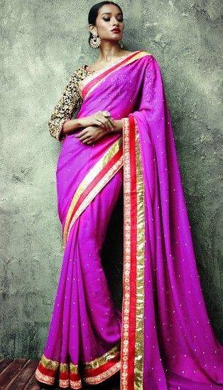 Brijraj Saree, Iifa Poly Georgette Purple Embroidery Saree With Unstitched Blouse