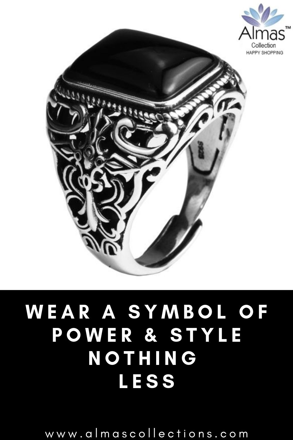 2b5262136 ONLY $49.99 + FREE SHIPPING New Vintage Black Onyx Stone Real 925 Sterling  Silver Ring.