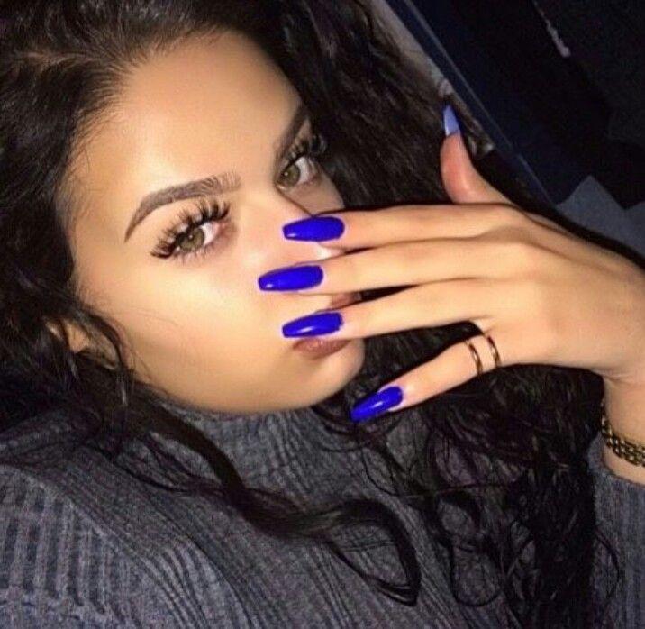 royal blue squoval acrylic nails