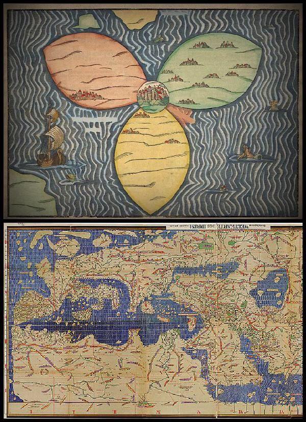 بالأعلى خريطة رسمها الأوروبيون للعالم عام 1581م وبالأسفل خريطة رسمها المسلمون عام 1154م قبلها بأكثر من 4 قرون Hannibal History Map Vintage World Maps